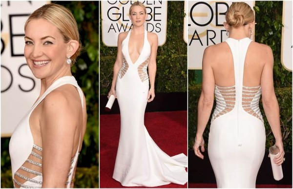 Kate Hudson de Versace, sapatos Brian Atwood, clutch Jimmy Choo e joias Forevermark Diamonds.