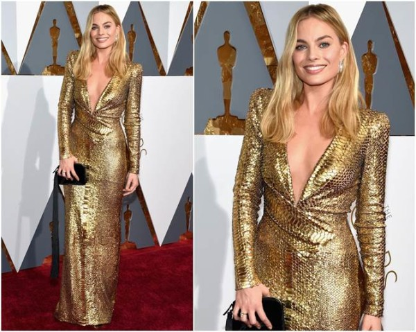 Margot Robbie de Tom Ford - amei a clutch dela!